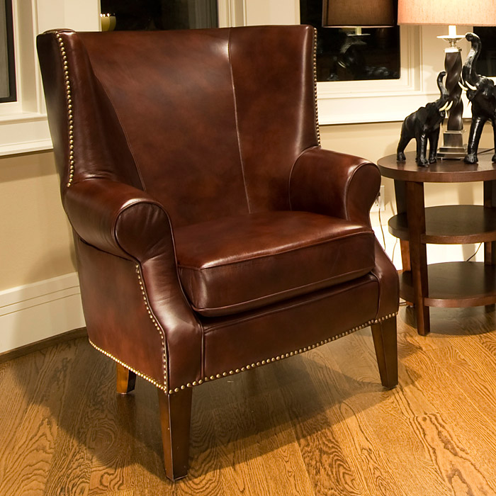 Camden Wingback Leather Club Chair In Brown Raisin