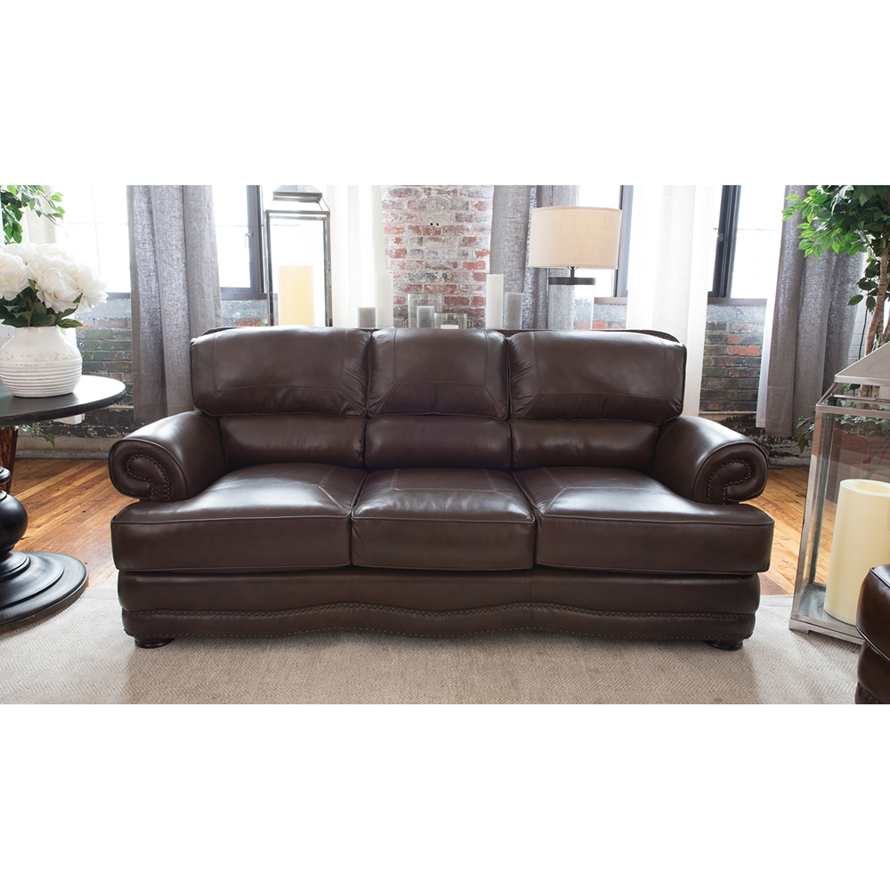 Best Leather Sofas In Us: Charleston Top Grain Leather Sofa - Toast