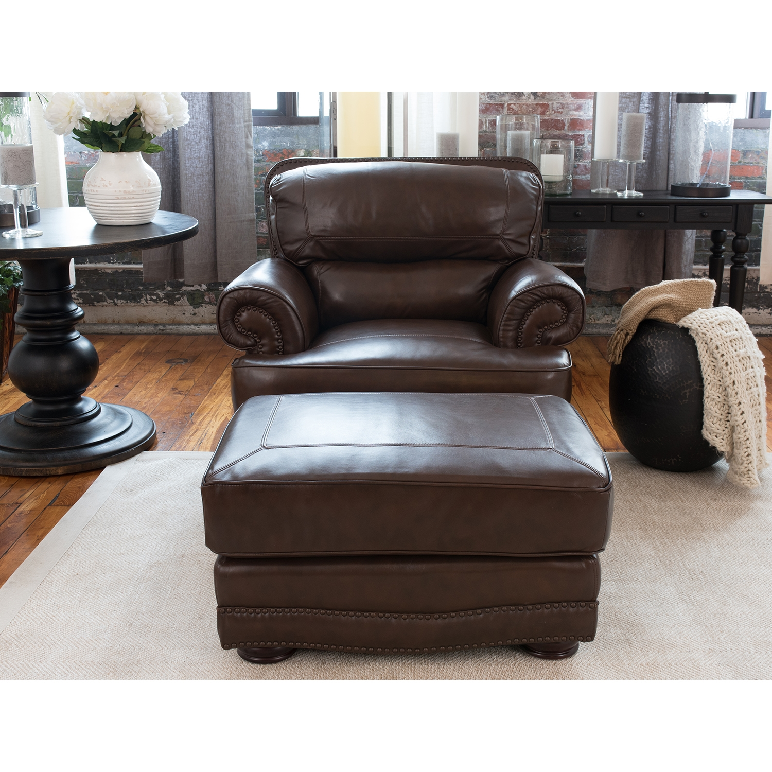Charleston 2 Pieces Top Grain Leather Chair and Ottoman - Toast - ELE-CHR-2PC-SC-SO-TOAS-1