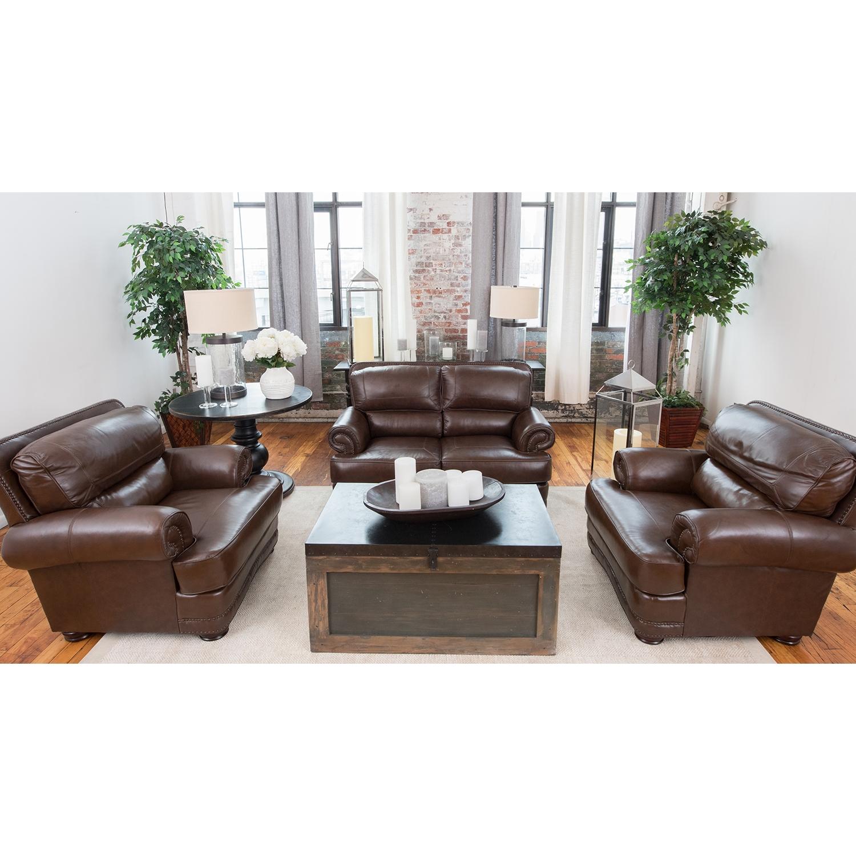 Charleston 3 Pieces Top Grain Leather Sofa Set   Toast, Nailhead   ELE CHR  ...
