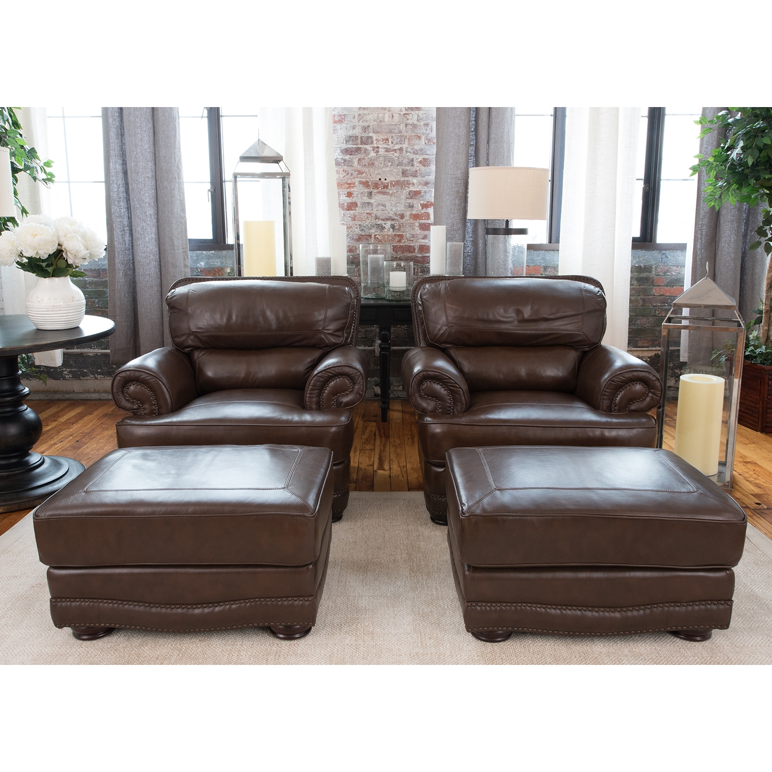 Charleston 4 Pieces Top Grain Leather Chairs and Ottomans - Toast - ELE-CHR- ...  sc 1 st  DCG Stores & Charleston 4 Pieces Top Grain Leather Chairs and Ottomans - Toast ...