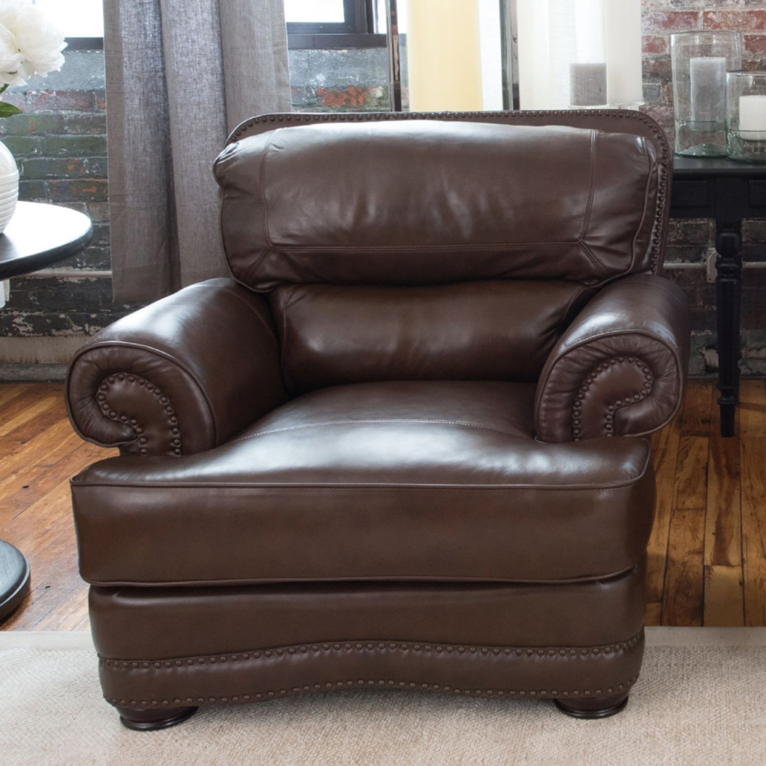 Charleston 4 Pieces Top Grain Leather Chairs and Ottomans - Toast - ELE-CHR-4PC-SC-SC-SO-SO-TOAS-1