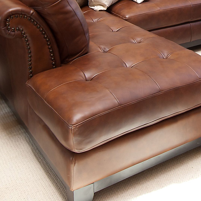 Corsario Leather Sectional Sofa With Left Facing Chaise
