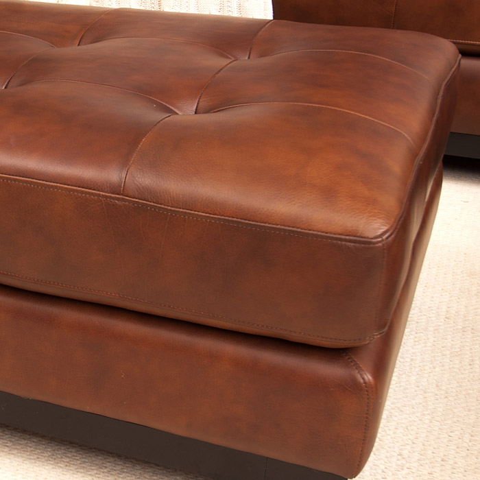 Corsario Leather Cocktail Ottoman in Bourbon - ELE-COR-CO-BOUR-1