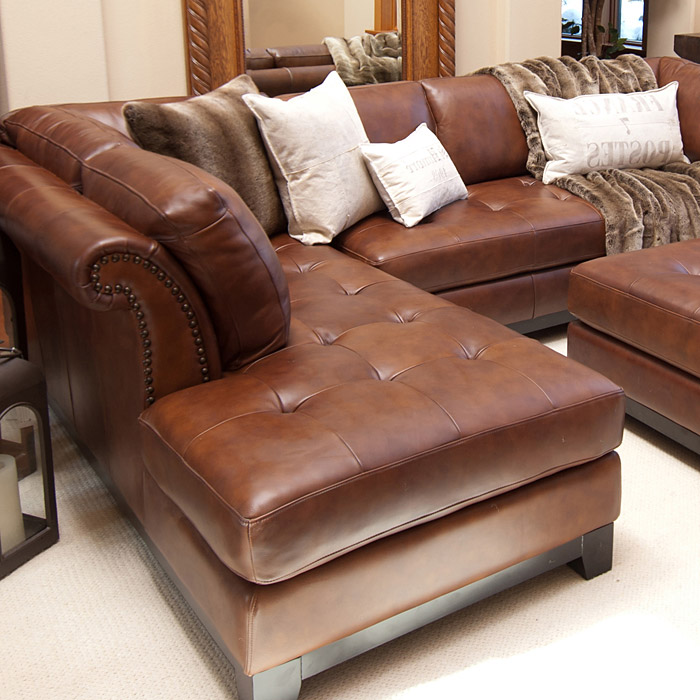 corsario leather sectional with left facing chaise and ottoman ele cor 2pc - Sectional With Chaise