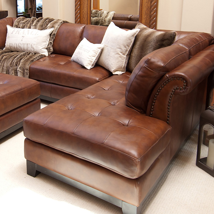 Corsario Leather Sectional With Right Facing Chaise And Ottoman Dcg Stores