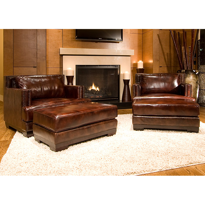 Davis Saddle Brown Leather Armchairs Set - ELE-DAV-2PC-SC-SC-SADD-1