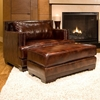 Davis Leather Club Chair And Ottoman In Saddle Brown