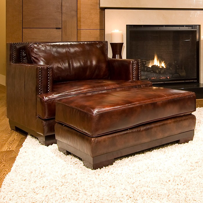 A Glass And Gold Bar Cart Brown Leather Armchair And: Davis Leather Club Chair And Ottoman In Saddle Brown