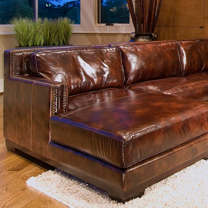 Davis saddle brown leather sectional with left facing for Brown leather sectional with chaise