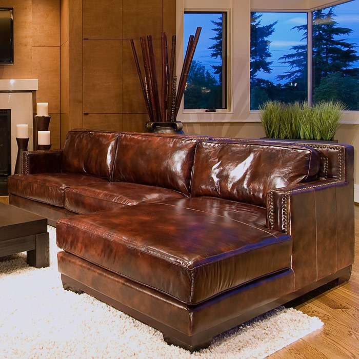 Davis Saddle Brown Leather Sectional With Right Facing