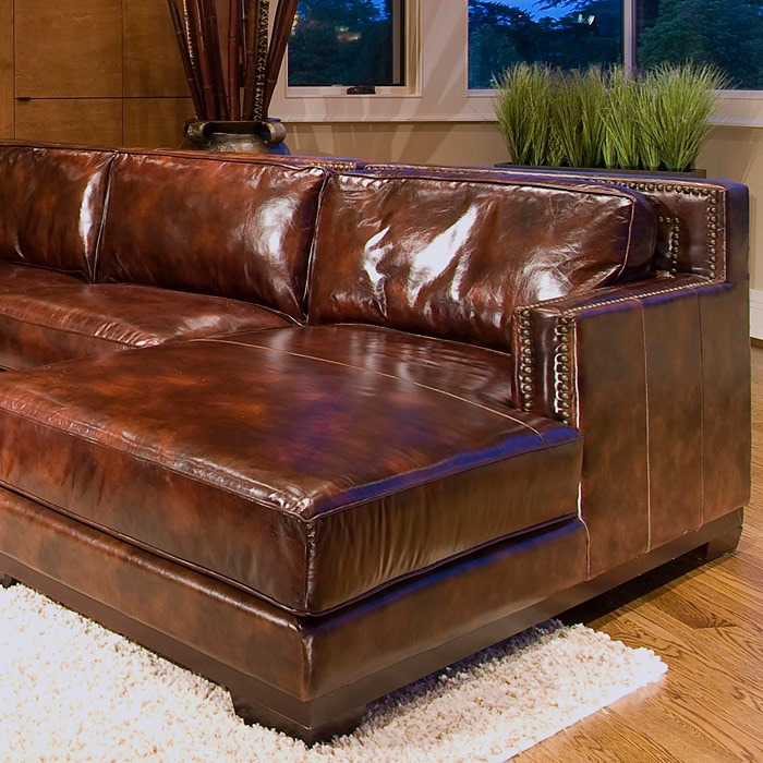 Davis saddle brown leather sectional with right facing for Brown sectionals with chaise