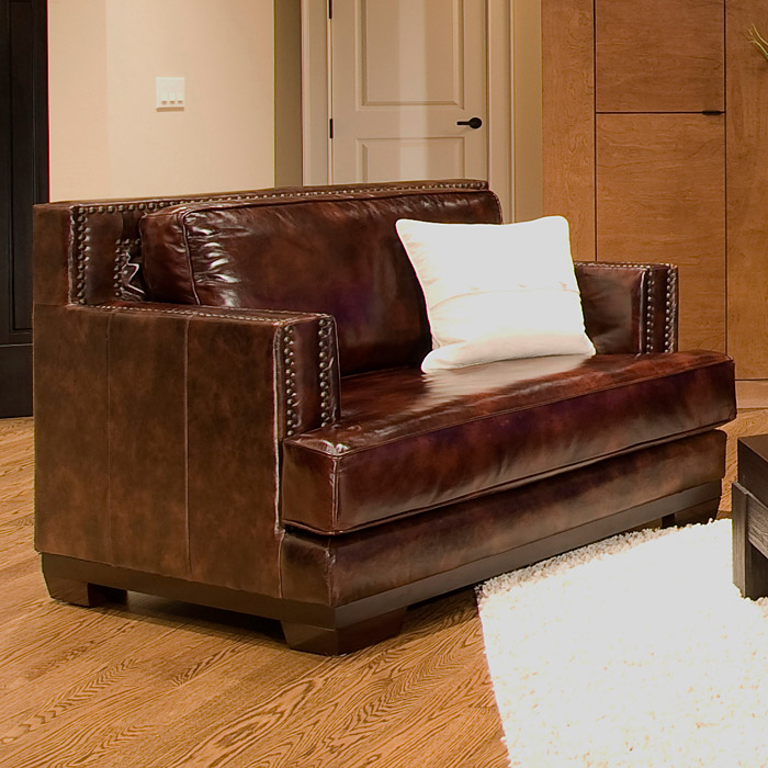 Davis Saddle Brown Leather Armchairs Set Dcg Stores