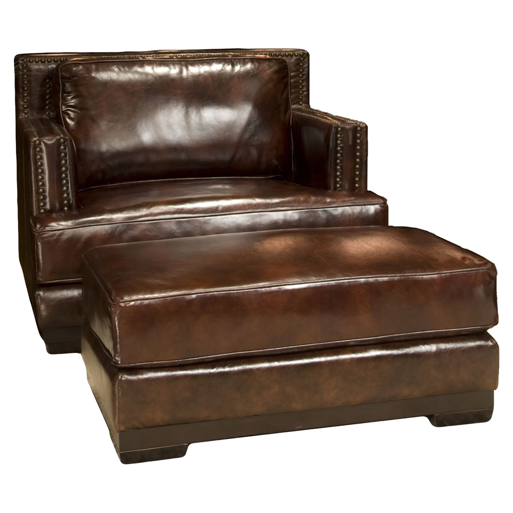 Easton Top Grain Leather Accent Chair And Ottoman Saddle Dcg Stores