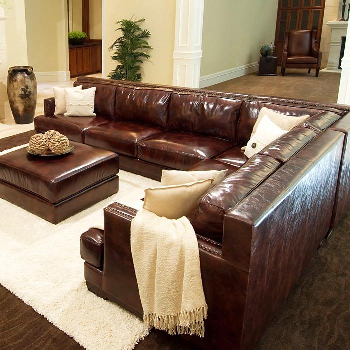 Easton 3 Piece Saddle Brown Sectional Sofa Set Left Arm Ele Eas