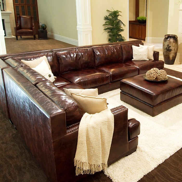 Easton 3 Piece Saddle Brown Sectional Sofa Set   Right Arm Sofa   ELE EAS  ...