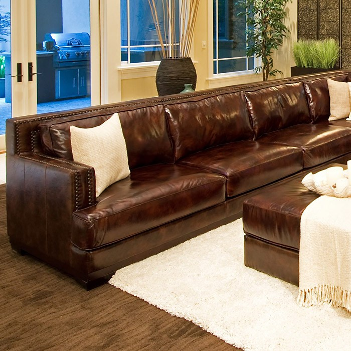 Easton Leather Sectional With Ottoman   Left Arm Sofa   ELE EAS 2PC  ...