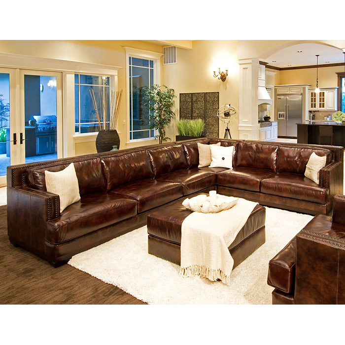Easton Leather Sectional With Ottoman Left Arm Sofa