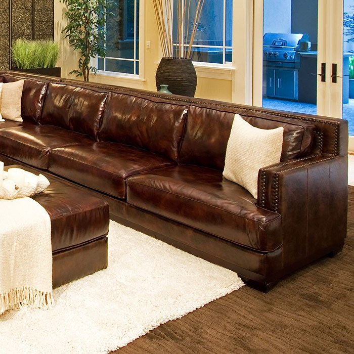 Easton leather sectional with ottoman right arm sofa for Easton leather sectional sofa