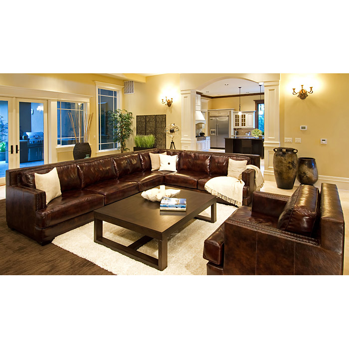Easton Leather Sectional and Chair Set - Left Arm Sofa - ELE-EAS-2PC-LAFS-RAFL-CS-SC-SADD-1