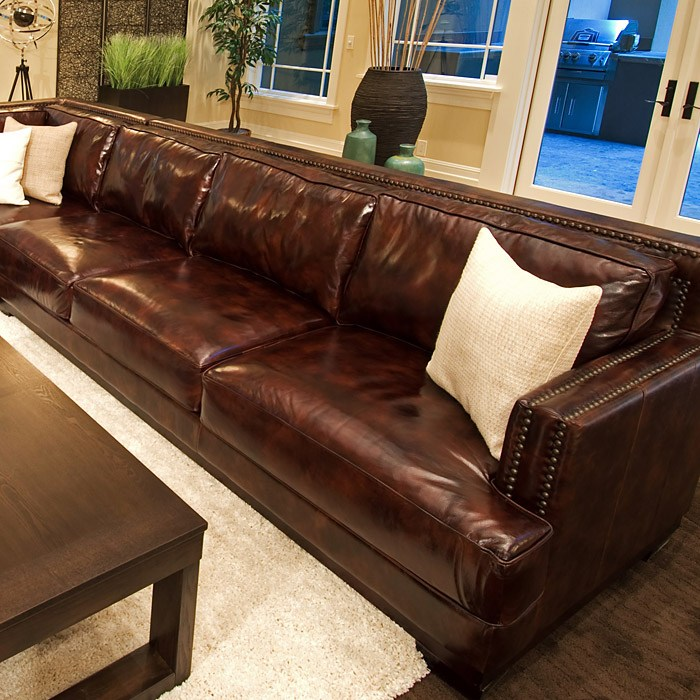 Easton saddle brown leather sectional with right arm sofa for Easton leather sectional sofa