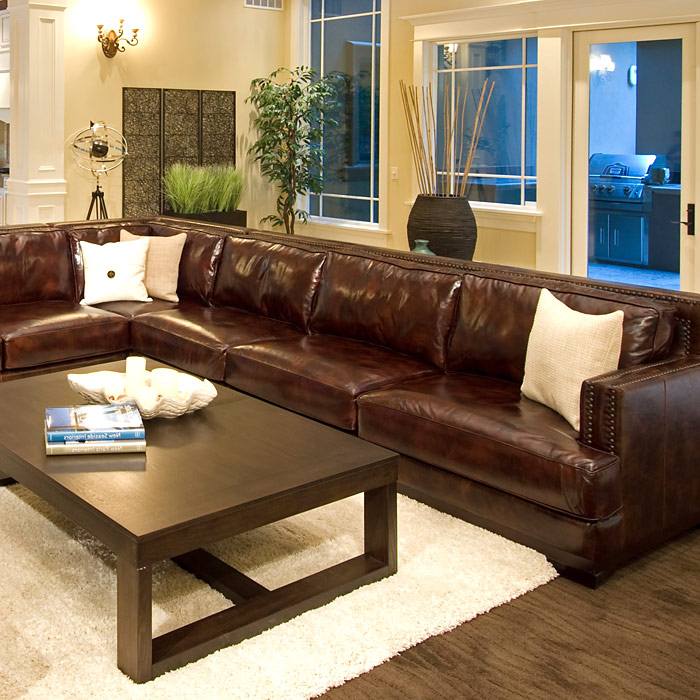 ... Easton Saddle Brown Leather Sectional With Right Arm Sofa   ELE EAS SEC