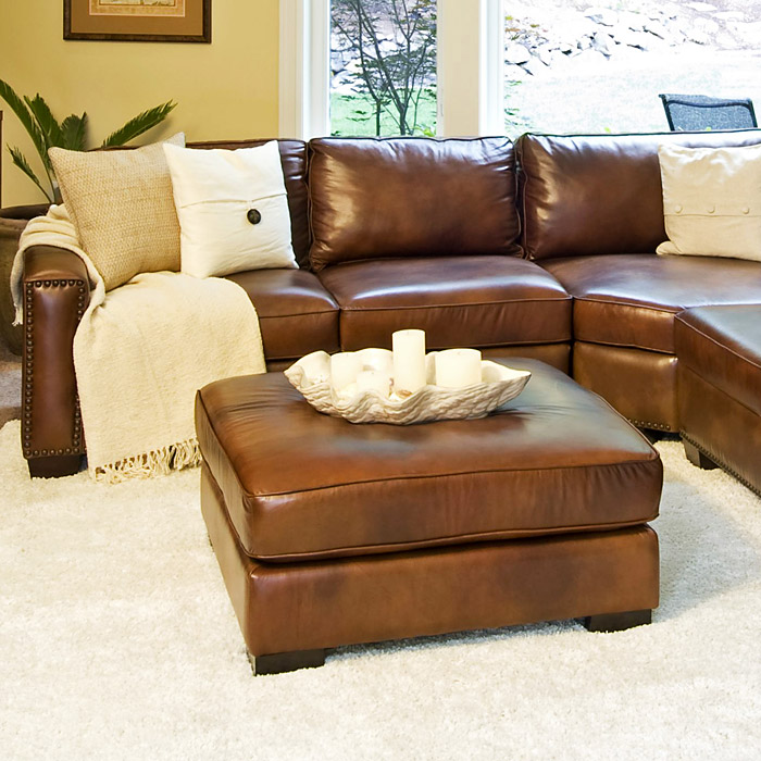carlyle rustic brown leather sectional and ottoman set ele car 2pc