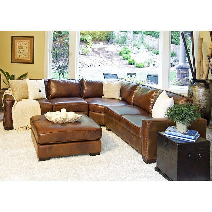 ... Carlyle Rustic Brown Leather Sectional And Ottoman Set    ELE CAR 2PC LAFL