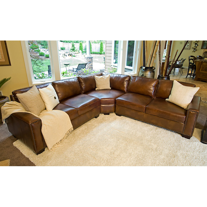 Carlyle rustic brown leather sectional sofa dcg stores for Large rustic sectional sofa
