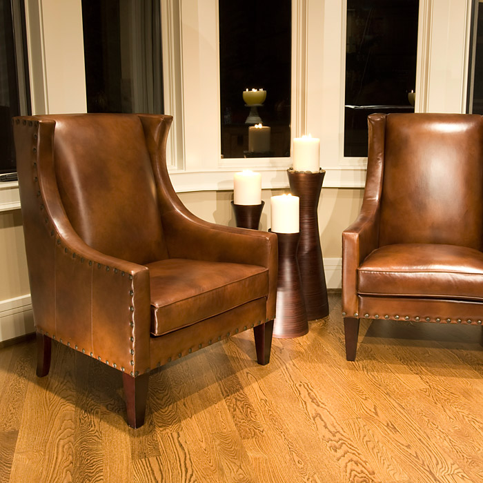 Bristol rustic brown leather club chairs set dcg stores - Rustic living room furniture sets ...