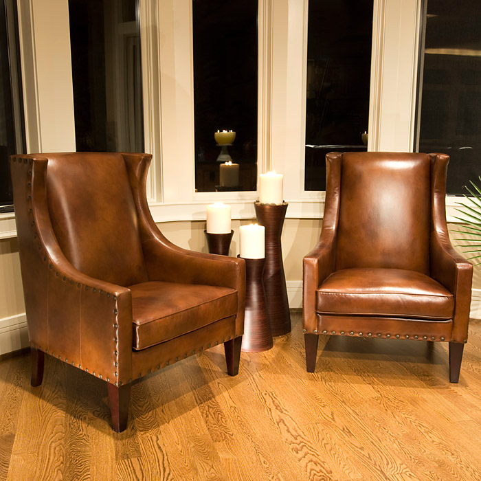 A Glass And Gold Bar Cart Brown Leather Armchair And: Bristol Rustic Brown Leather Club Chair