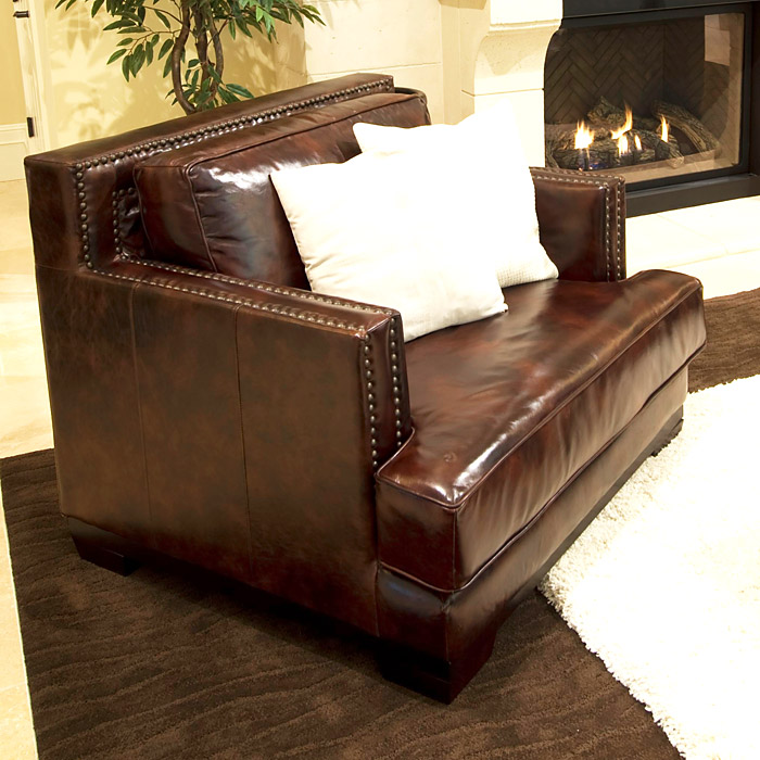 Emerson Top Grain Leather Club Chair in Saddle Brown - ELE-EME-SC- ...