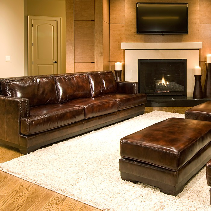 emerson 5 piece leather living room set in saddle brown dcg stores