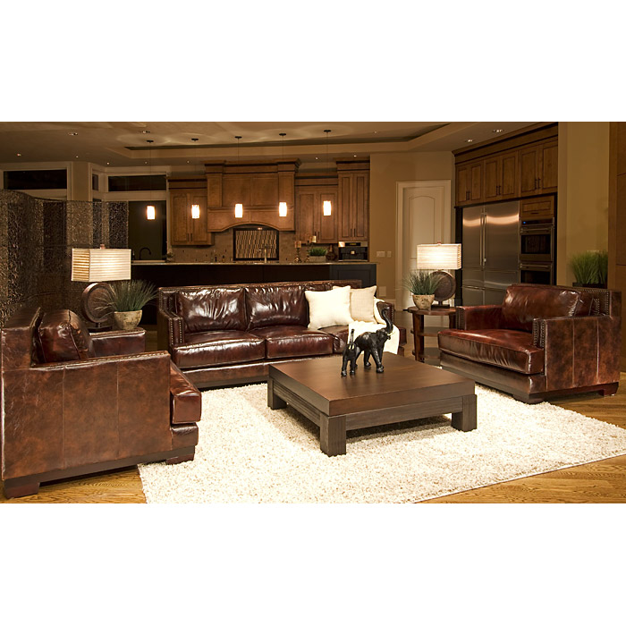 New Interior Best Of White Leather Reclining Sofa Ideas: Emerson Top Grain Leather Sofa And Chairs Set In Saddle