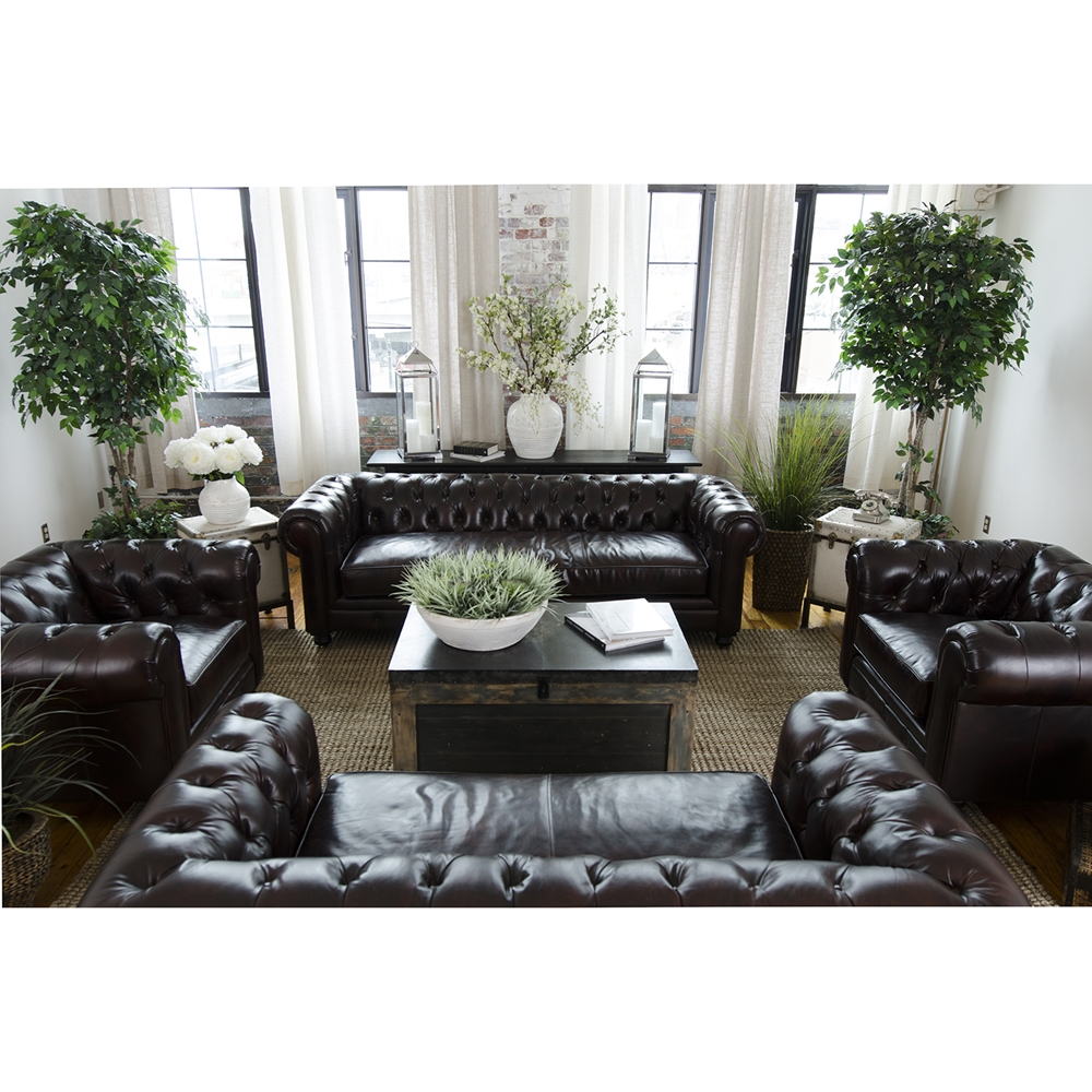 Estate 4 piece top grain leather sofa set saddle dcg for Est living room sets