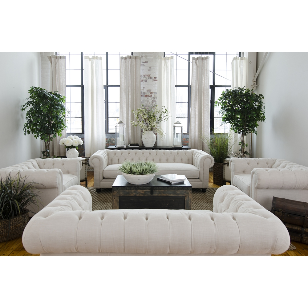 Estate 4 piece fabric sofa set seashell dcg stores for Est living room sets