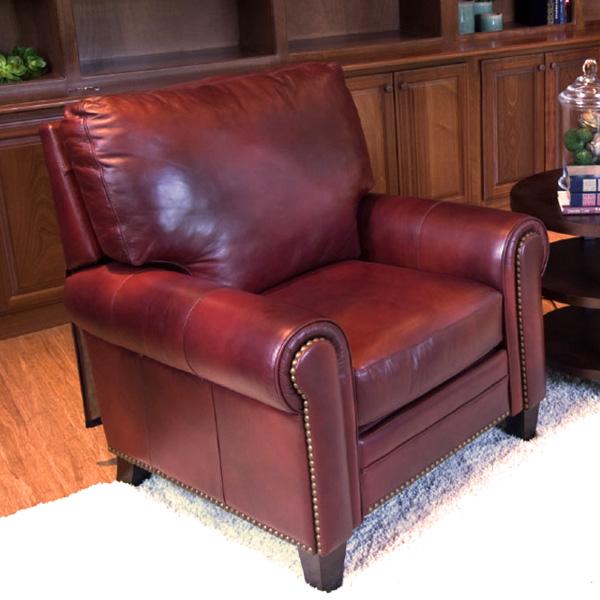 Garret Top Grain Leather Reclining Club Chair In Sienna   ELE GAR RC  ...