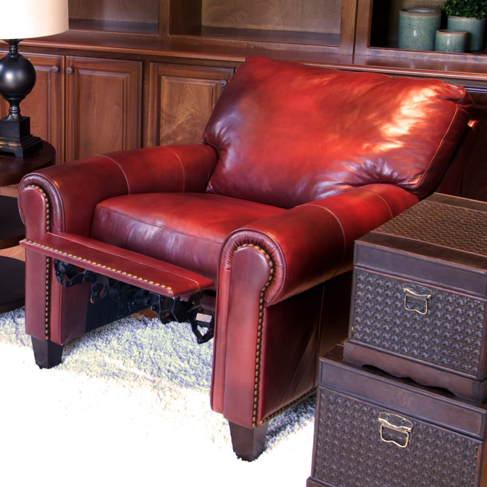 ... Garret Leather Reclining Club Chairs Set In Sienna   ELE GAR 2PC RC