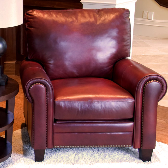 Superieur Garret Leather Reclining Club Chairs Set In Sienna