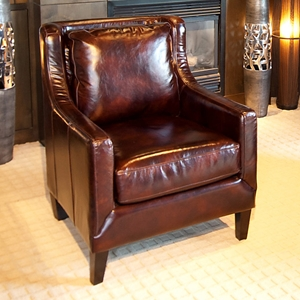 Java Saddle Brown Leather Club Chair with Tapered Wood Feet