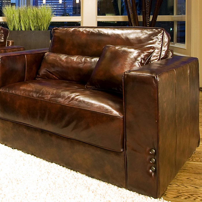 A Glass And Gold Bar Cart Brown Leather Armchair And: Laguna Saddle Brown Leather Club Chair