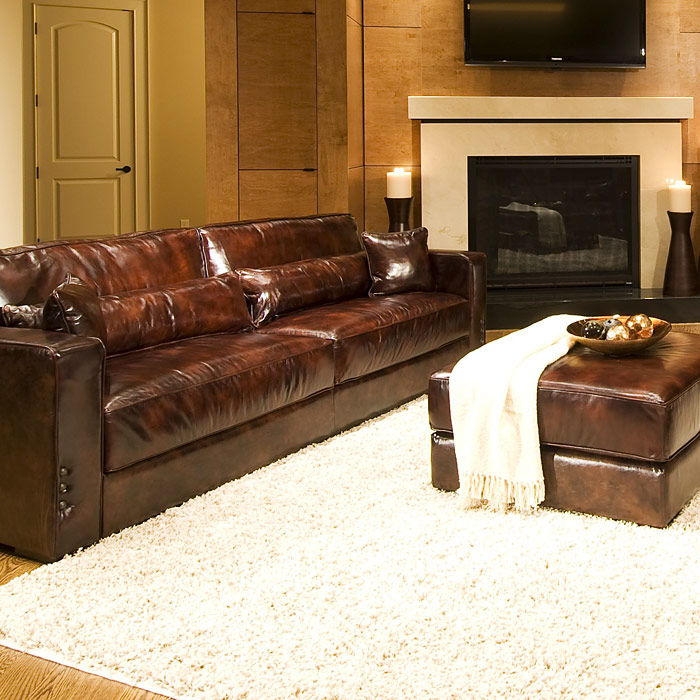 Laguna 4 Piece Saddle Brown Leather Sofa Set Ele Lag 4pc S