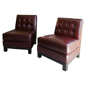 Lars 2 Pieces Top Grain Leather Standard Chairs - Sable