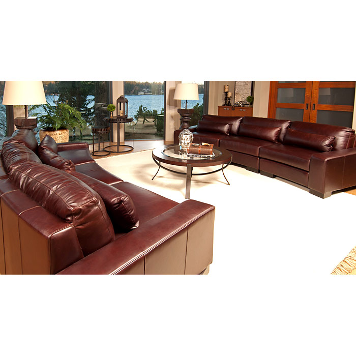 Loft Top Grain Leather 2 Curved Sectionals in Sable - ELE-LOF-2PC-LAFCHR-RAFCHR-AC-SABL-1