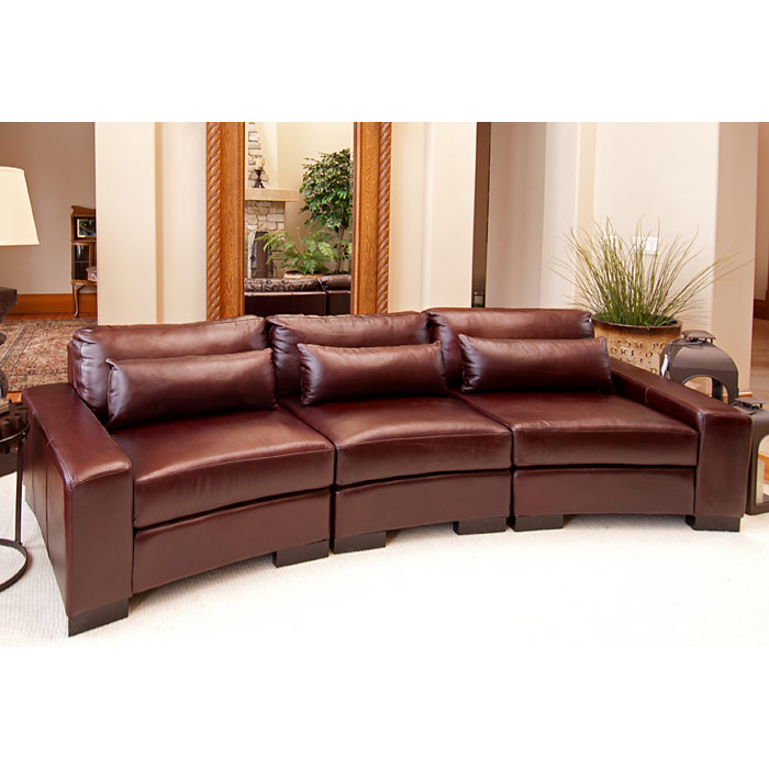 Curved Sofa Sectional Leather: Loft Top Grain Leather Curved Sectional In Sable