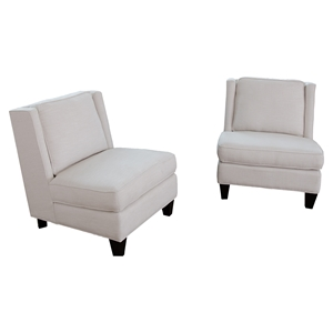 Malibu 2-Piece Fabric Armless Chairs - Seashell