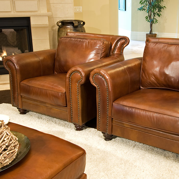 Paladia Leather Club Chairs Set In Rustic Brown