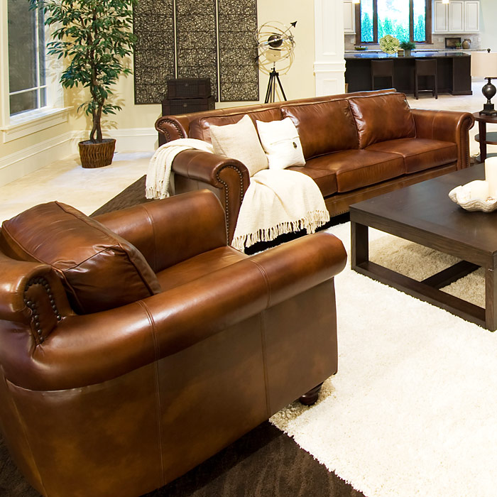 Paladia 4 Piece Leather Sofa Set In Rustic Brown
