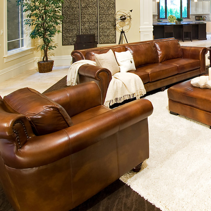 Paladia 5 Piece Leather Sofa Set In Rustic Brown   ELE PAL 5PC  ...