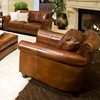 Paladia 5 Piece Leather Sofa Set In Rustic Brown Ele Pal 5pc